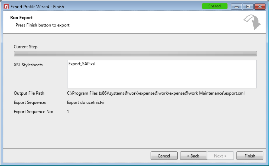 Example of data export from expense@work
